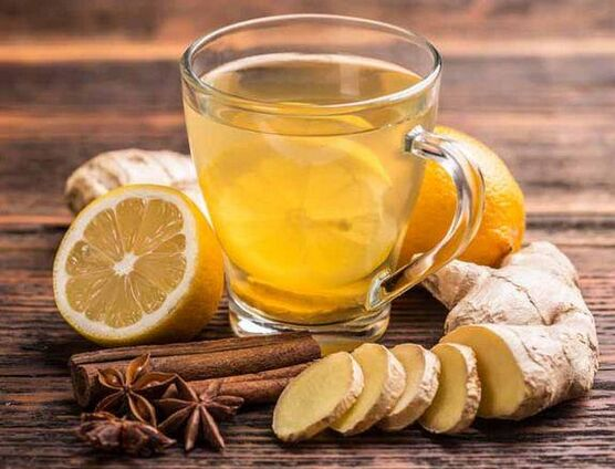 Tea with ginger, lemon, cinnamon and cloves for a lasting erection